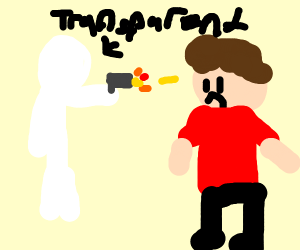 A transparent guy shooting a guy in red shirt