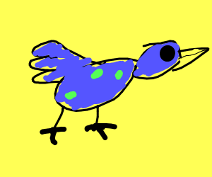 a blue bird with green in some places
