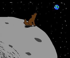 Moon wolf, hollowing at Earth