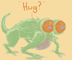 creepy deformed eye lizard asks for a hug