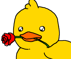 cute duck giving you a rose