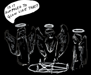 Baby angels performing satanic ritual with ca