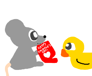 Mouse gives a valentine card to a duck