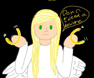 Angel realizes her halo is broken