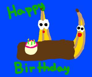 Bananas having a birthday party
