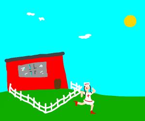 Nurse crossing the Lawn