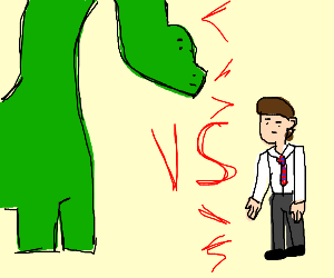 long neck dino vs. avarage guy with cool tie.