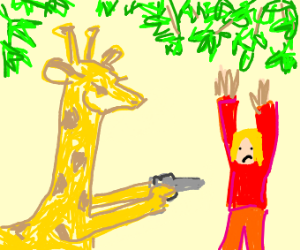giraffe pointing gun at guy with red clothes
