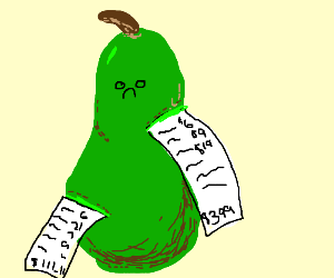 A pear with receipts stuck on it
