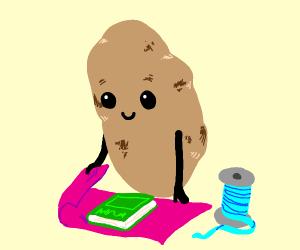 potato gift wrapping a book