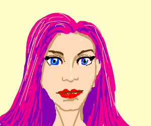 A girl with dark pink hair