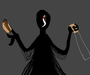 Dark fellow with food in one hand saws in oth