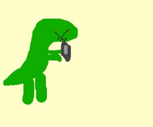 a dinosaur is mad at a ipad/phone