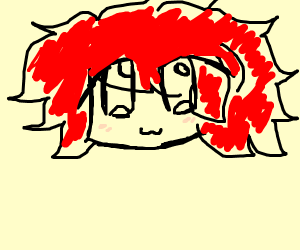 weird man with red hair and no body