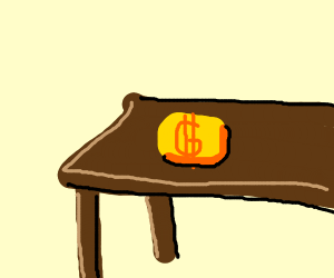 Gold nugget on brown table