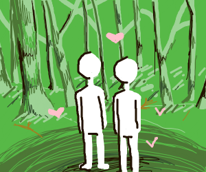 Two lovers in a forest