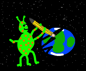 alien trying to erase the earth