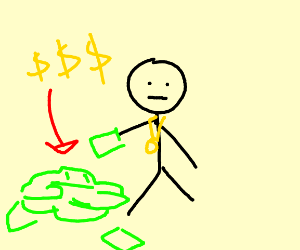 Person with skinny arms flexing their money