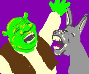 shrek and donkey sing all star