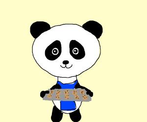 Panda baking cookies