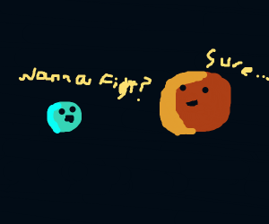 two stars one blue the other ORANGE fighting