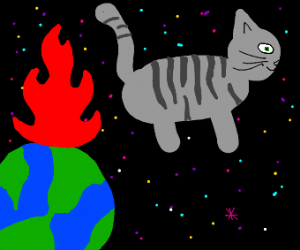 space cat and earth on fire