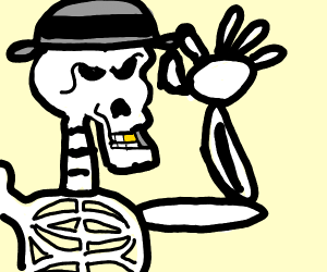 a skeleton with grey hat and a gold tooth