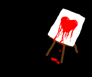 Canvas with dripping heart