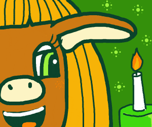 Brown female pig with blonde hair by candle