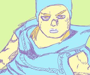 Angry kid wearing potato sack
