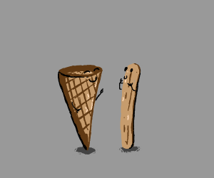 Icecream cone and popsicle stick friendship
