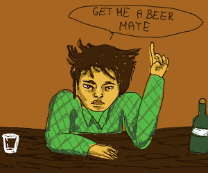 Guy n a bar needs his beer mate!