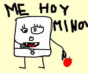 doodlebob eats a fruit