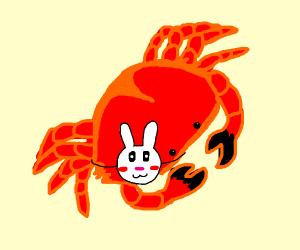 crab wearing rabbit mask