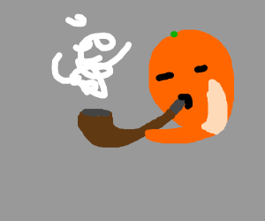 an orange smoking a pipe