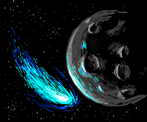 A comet by the moon