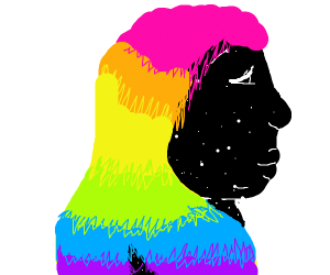 Woman w/ rainbow hair, made out of space stuf