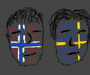 sweden and norway flags on people's faces