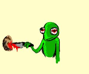 Kermit murders a potato