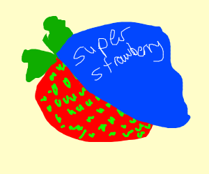 Strawberry superhero about to save the day