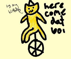 birthday cat on unicycle