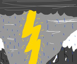 Thunder and lightning with rain