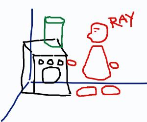 Man Ray doing laundry