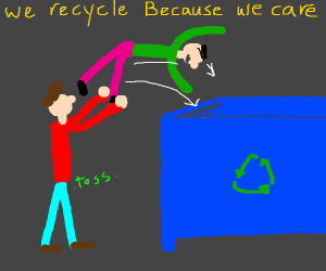 Person recycles another person