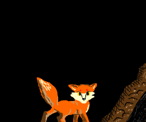Fox by cave