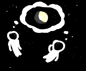 Two astronauts contemplating the moon