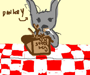 Donkey eats a box of sticks