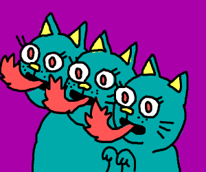 Three headed fire breathing cat