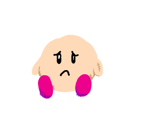 sad kirby with a stitched arm