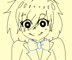 anime girl with bow tie